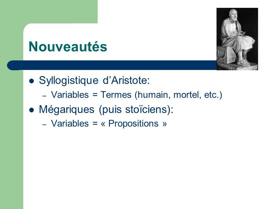 Nouveautés Syllogistique dAristote: – Variables = Termes (humain, mortel, etc.) Mégariques (puis stoïciens): – Variables = « Propositions »