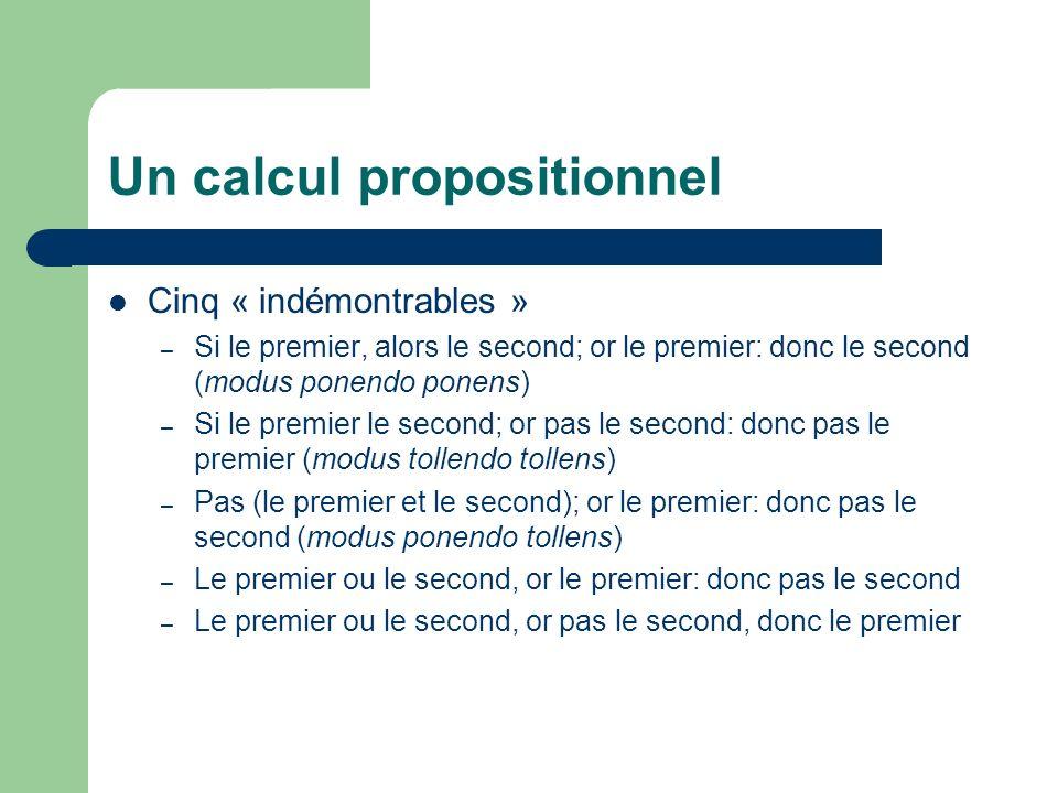 Un calcul propositionnel Cinq « indémontrables » – Si le premier, alors le second; or le premier: donc le second (modus ponendo ponens) – Si le premie