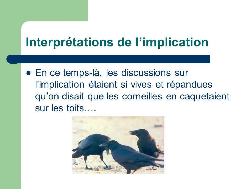 Interprétations de limplication En ce temps-là, les discussions sur limplication étaient si vives et répandues quon disait que les corneilles en caque