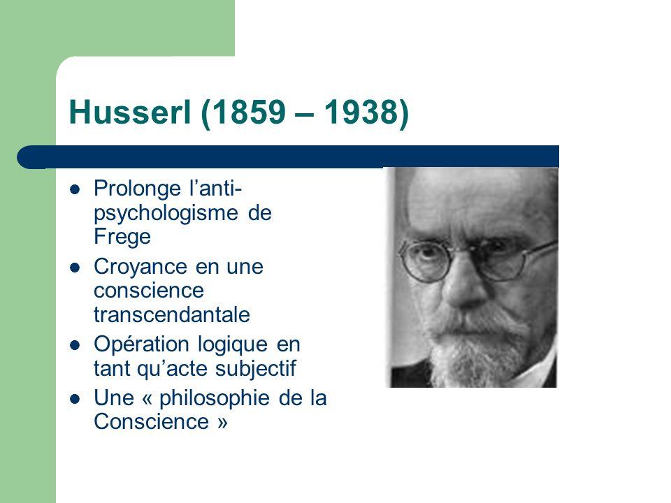 Husserl (1859 – 1938) Prolonge lanti- psychologisme de Frege Croyance en une conscience transcendantale Opération logique en tant quacte subjectif Une « philosophie de la Conscience »