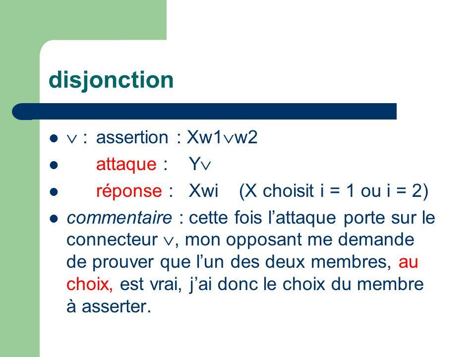 disjonction :assertion : Xw1 w2 attaque : Y réponse : Xwi(X choisit i = 1 ou i = 2) commentaire : cette fois lattaque porte sur le connecteur, mon opposant me demande de prouver que lun des deux membres, au choix, est vrai, jai donc le choix du membre à asserter.