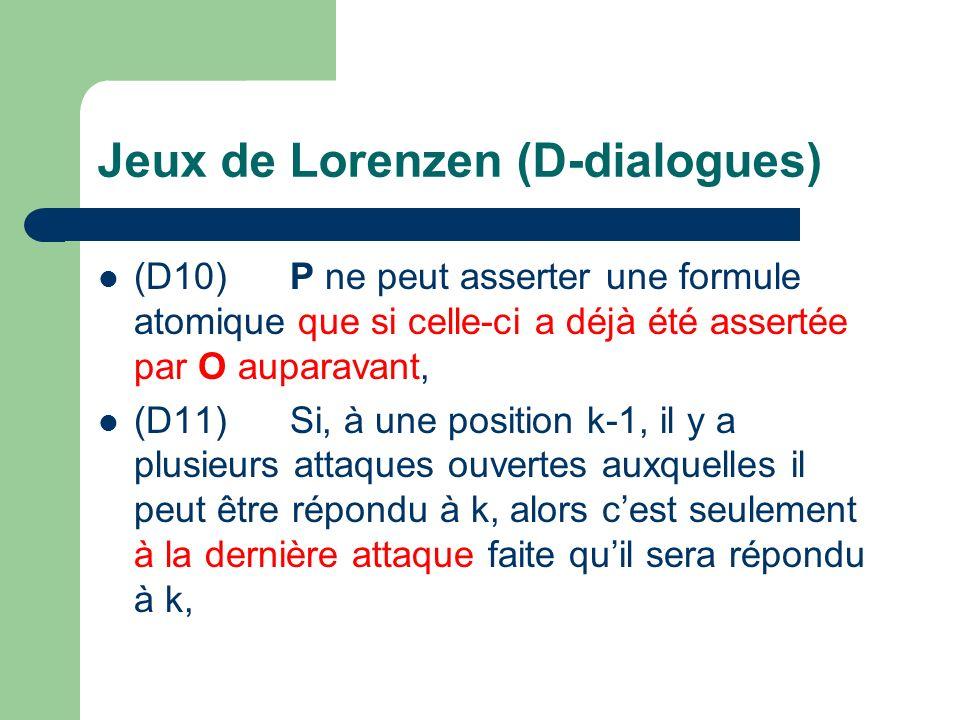Jeux de Lorenzen (D-dialogues) (D10)P ne peut asserter une formule atomique que si celle-ci a déjà été assertée par O auparavant, (D11)Si, à une position k-1, il y a plusieurs attaques ouvertes auxquelles il peut être répondu à k, alors cest seulement à la dernière attaque faite quil sera répondu à k,