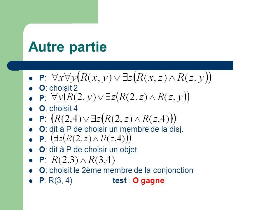 Autre partie P: O: choisit 2 P: O: choisit 4 P: O: dit à P de choisir un membre de la disj.