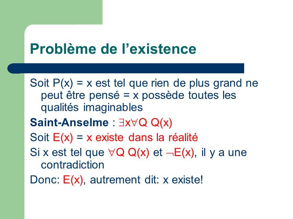 Problème de lexistence Soit P(x) = x est tel que rien de plus grand ne peut être pensé = x possède toutes les qualités imaginables Saint-Anselme : x Q Q(x) Soit E(x) = x existe dans la réalité Si x est tel que Q Q(x) et E(x), il y a une contradiction Donc: E(x), autrement dit: x existe!