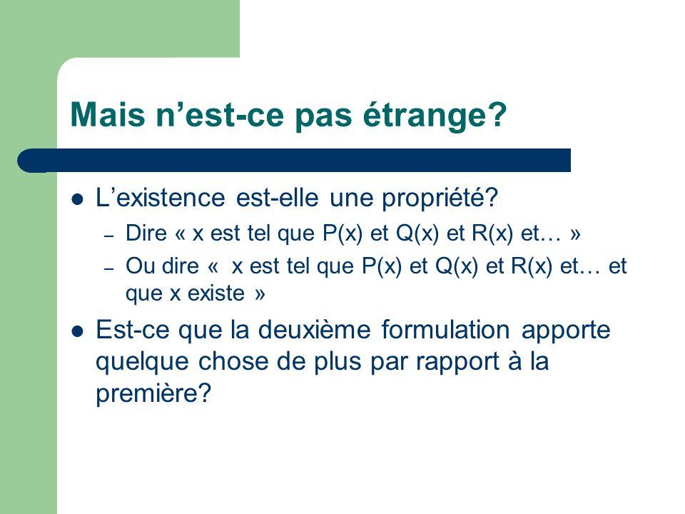 Mais nest-ce pas étrange. Lexistence est-elle une propriété.