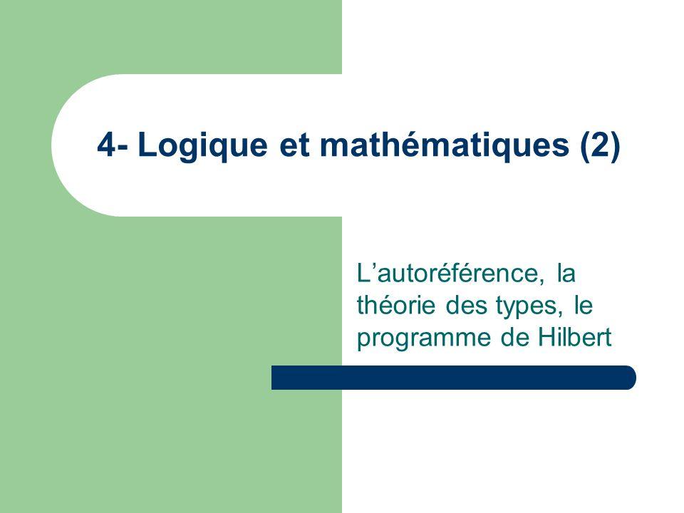Lautoréférence, la théorie des types, le programme de Hilbert 4- Logique et mathématiques (2)