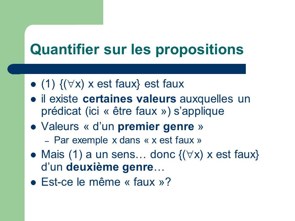 Quantifier sur les propositions (1){( x) x est faux} est faux il existe certaines valeurs auxquelles un prédicat (ici « être faux ») sapplique Valeurs « dun premier genre » – Par exemple x dans « x est faux » Mais (1) a un sens… donc {( x) x est faux} dun deuxième genre… Est-ce le même « faux »