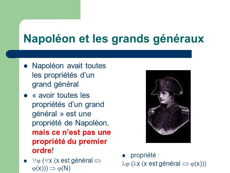 Napoléon et les grands généraux Napoléon avait toutes les propriétés dun grand général « avoir toutes les propriétés dun grand général » est une propriété de Napoléon, mais ce nest pas une propriété du premier ordre.