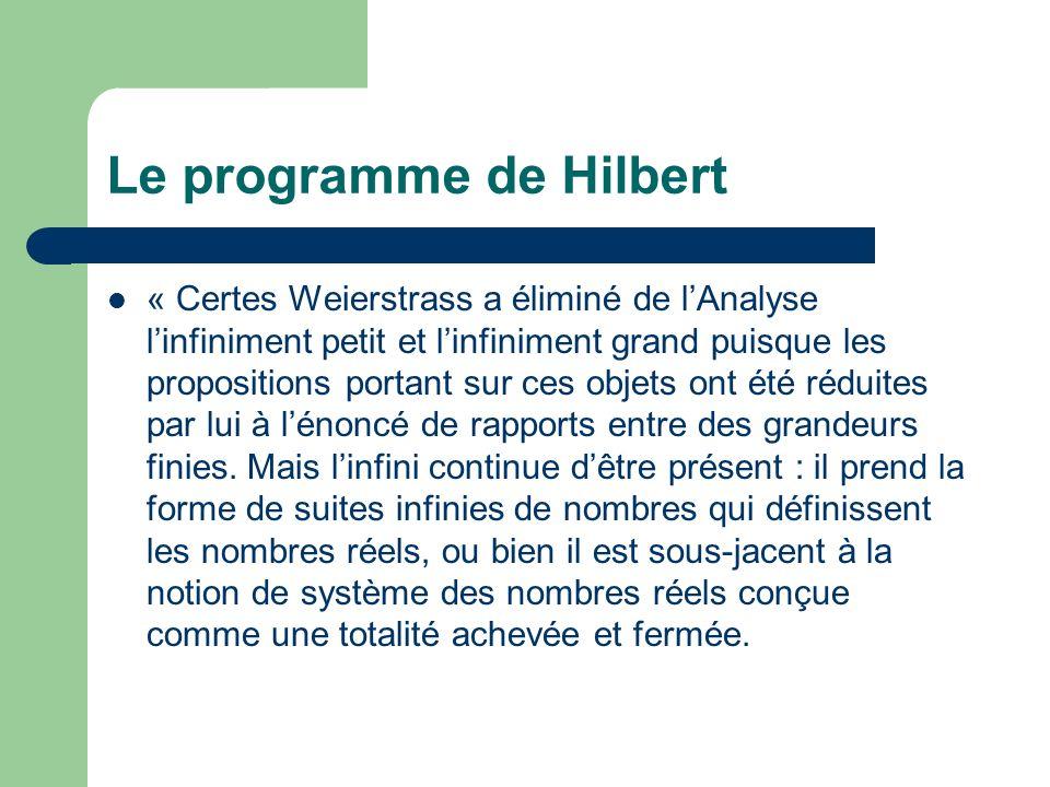 Le programme de Hilbert « Certes Weierstrass a éliminé de lAnalyse linfiniment petit et linfiniment grand puisque les propositions portant sur ces objets ont été réduites par lui à lénoncé de rapports entre des grandeurs finies.