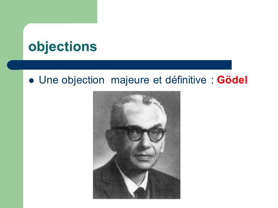 objections Une objection majeure et définitive : Gödel