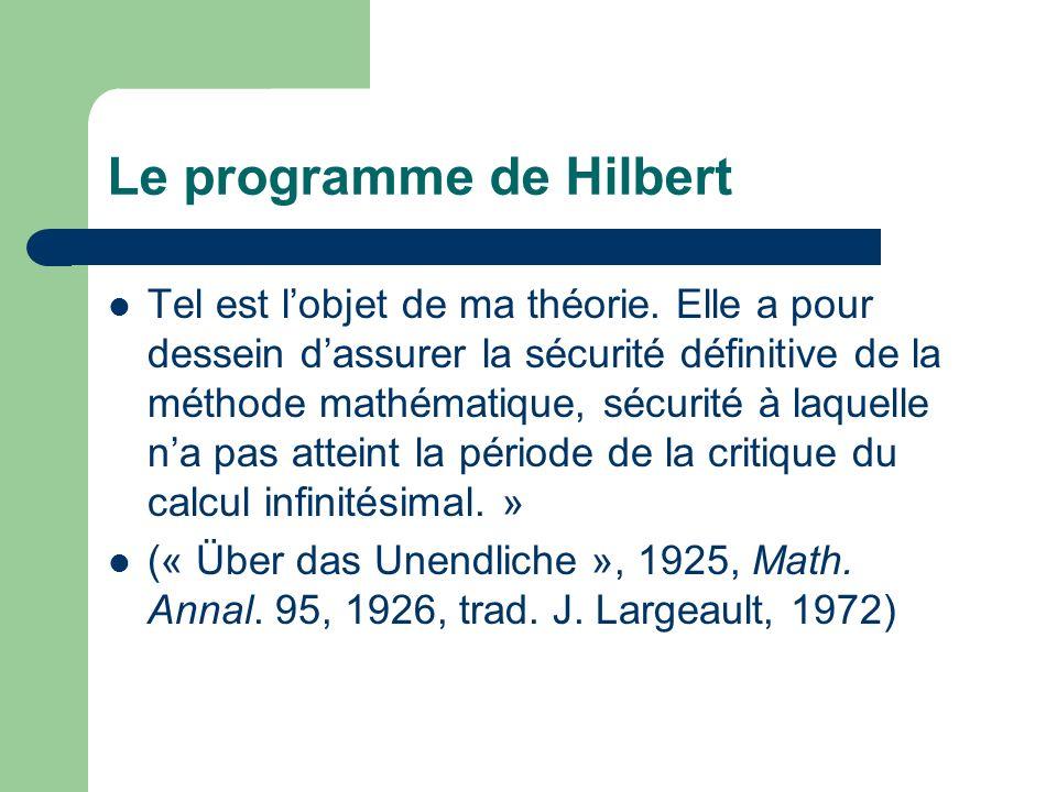 Le programme de Hilbert la condition préalable de lapplication des inférences logiques et de leffectuation dopérations logiques est lexistence dun donné dans la perception : à savoir lexistence de certains objets concrets extra-logiques qui en tant que sensations immédiates précèdent toute pensée.