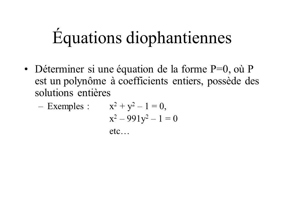 Ce problème nest pas « décidable » Démontré en 1970 par Yuri Matijasevic