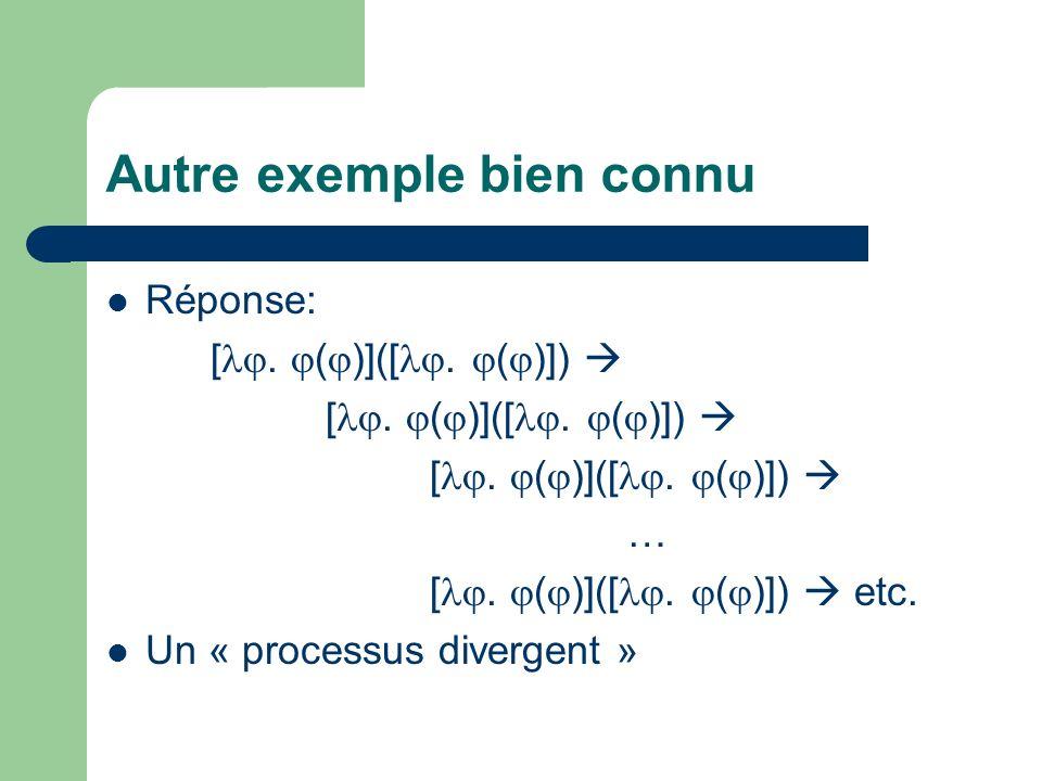 Autre exemple bien connu Réponse: [. ( )]([. ( )]) … [. ( )]([. ( )]) etc. Un « processus divergent »