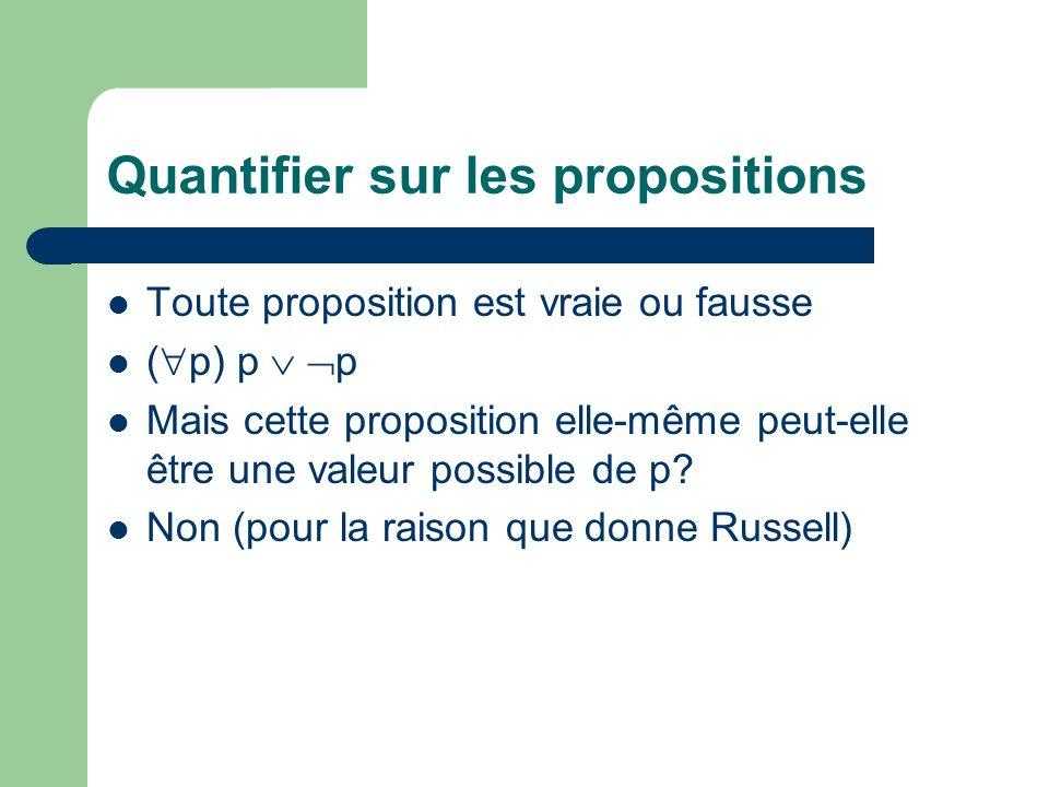 Quantifier sur les propositions Toute proposition est vraie ou fausse ( p) p p Mais cette proposition elle-même peut-elle être une valeur possible de