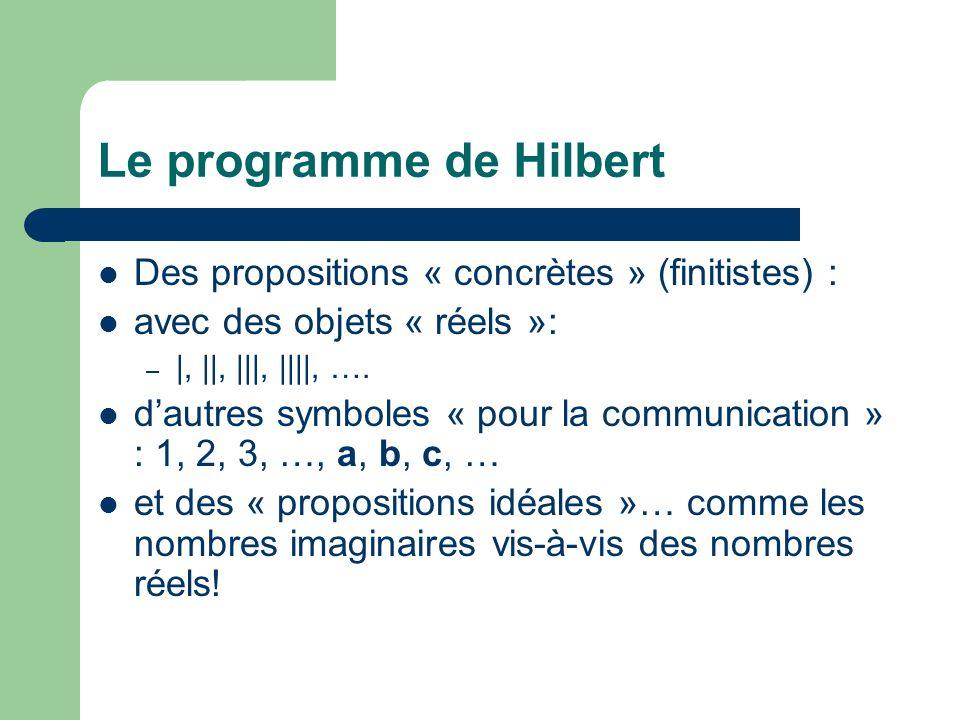 Le programme de Hilbert Des propositions « concrètes » (finitistes) : avec des objets « réels »: – |, ||, |||, ||||, …. dautres symboles « pour la com