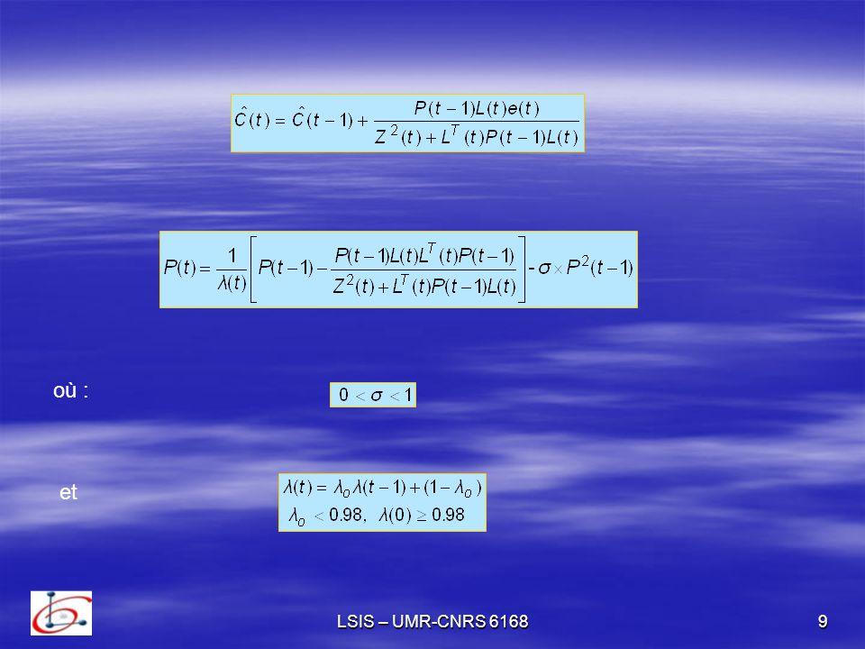 LSIS – UMR-CNRS 616810 La matrice de covariance satisfait les propriétés suivantes avec et i- ii- si alors lorsque t tend vers linfini est la matrice identité et est un scalaire où :
