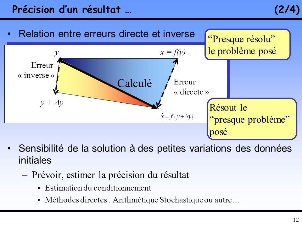 11 Stabilité de lalgorithme Conditionnement du problème Précision dun résultat … (1/4) Précision du résultat numérique ? Stabilité numérique Condition