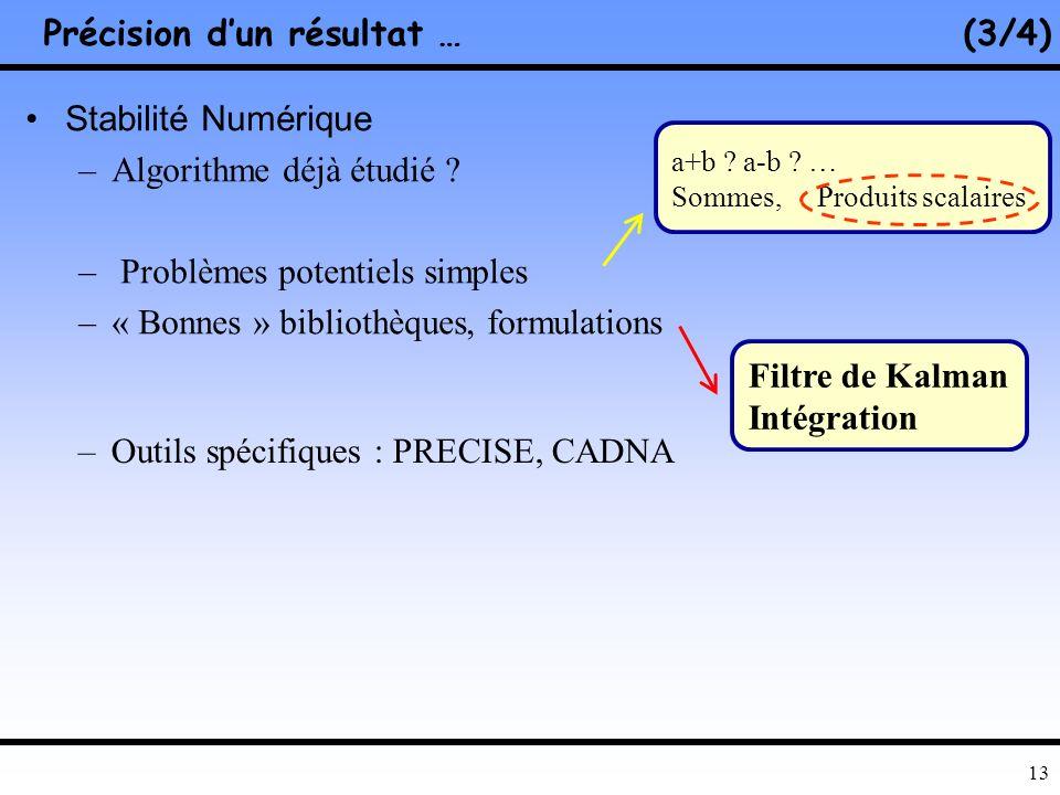 12 Relation entre erreurs directe et inverse Sensibilité de la solution à des petites variations des données initiales –Prévoir, estimer la précision