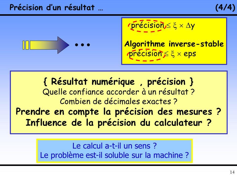 13 Stabilité Numérique –Algorithme déjà étudié ? – Problèmes potentiels simples –« Bonnes » bibliothèques, formulations Filtre de Kalman Intégration a