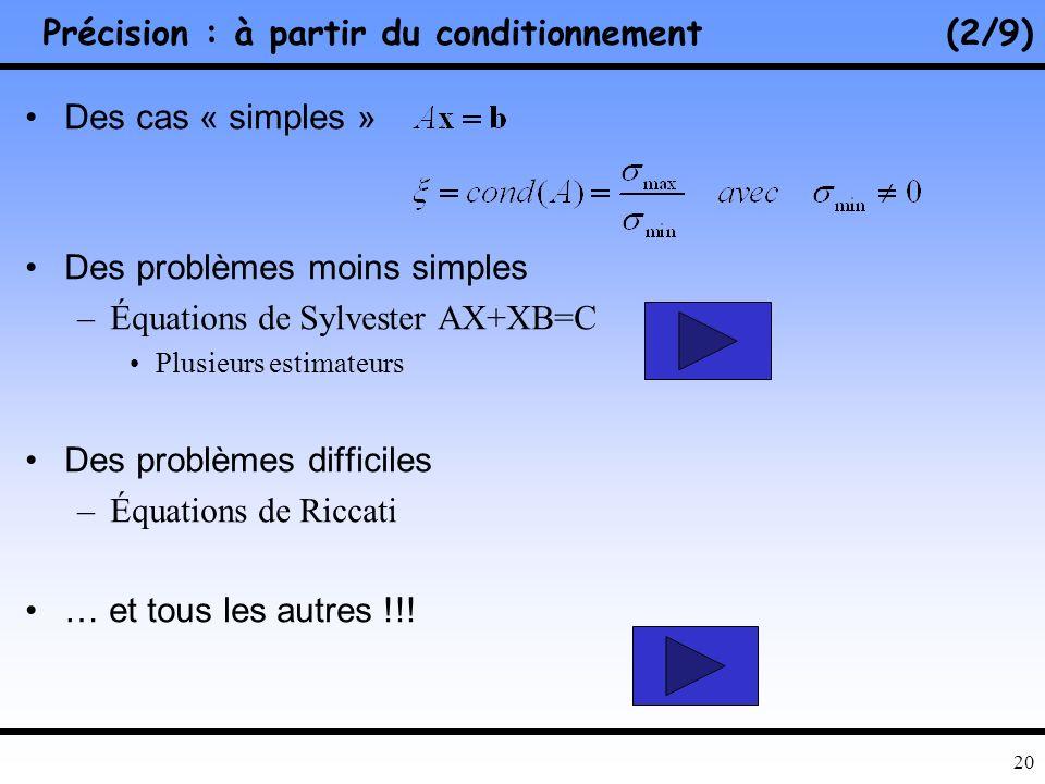 19 Précision : quels moyens pour lestimer ?(1/9) Conditionnement –Dépend du problème ! –Évaluation dépend de la solution !! –Difficulté de calcul !!!