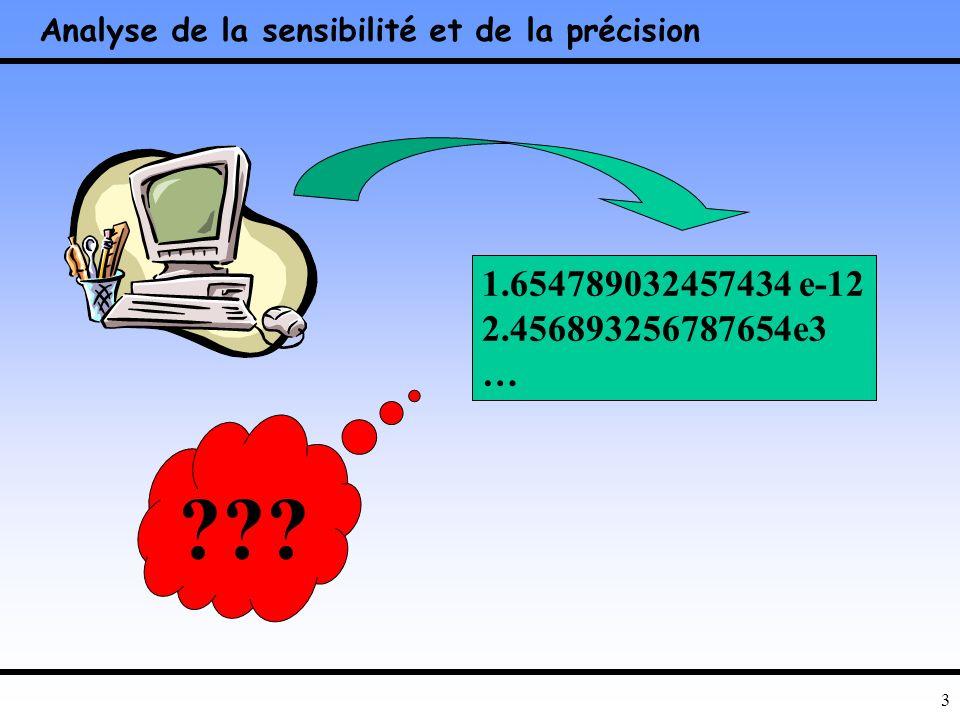 2 Plan Introduction –Quelques exemples simples… Les flottants Précision dun résultat … Amélioration de la stabilité –Moindres carrées … Estimation de