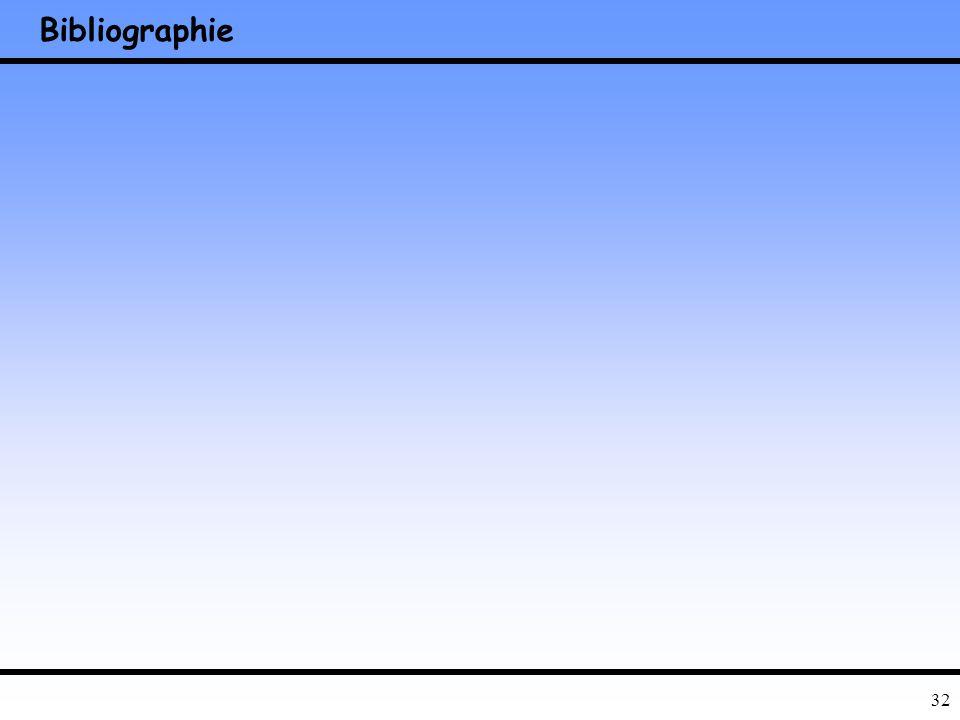 31 Conclusion Stabilité des algorithmes –Bonnes bibliothèques –Sites web –Programmes spécifiques Précision –Conditionnement Systèmes équations linéair