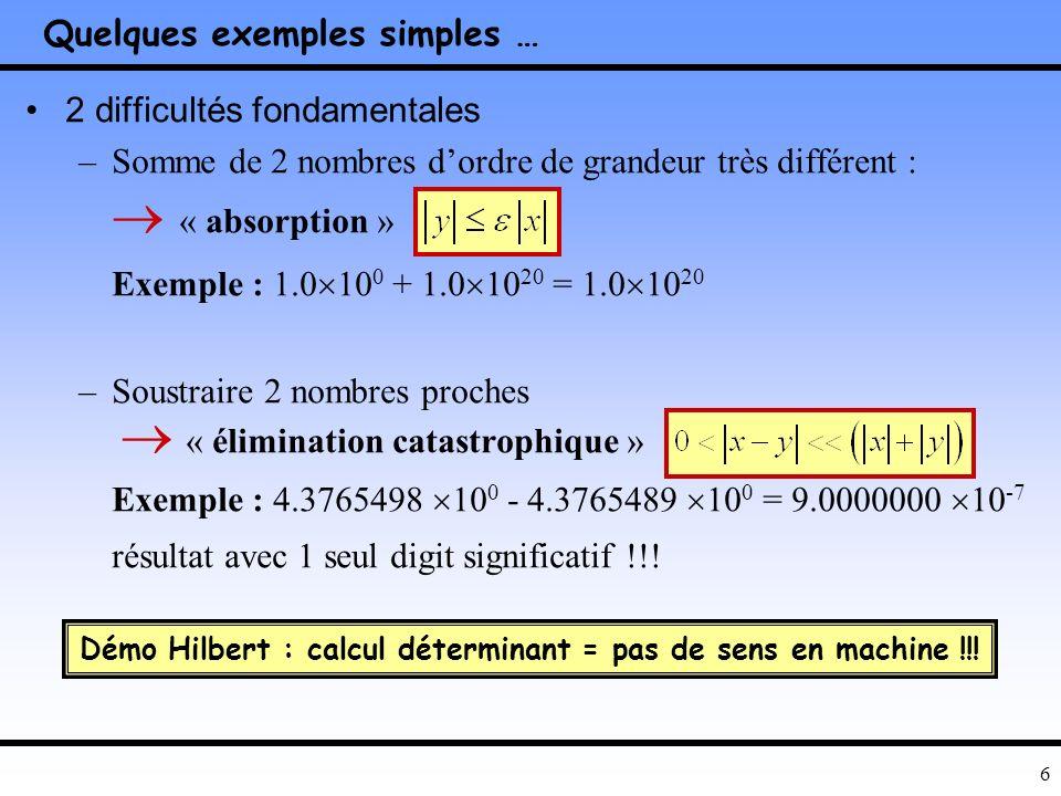 6 Quelques exemples simples … 2 difficultés fondamentales –Somme de 2 nombres dordre de grandeur très différent : « absorption » Exemple : 1.0 10 0 + 1.0 10 20 = 1.0 10 20 –Soustraire 2 nombres proches « élimination catastrophique » Exemple : 4.3765498 10 0 - 4.3765489 10 0 = 9.0000000 10 -7 résultat avec 1 seul digit significatif !!.