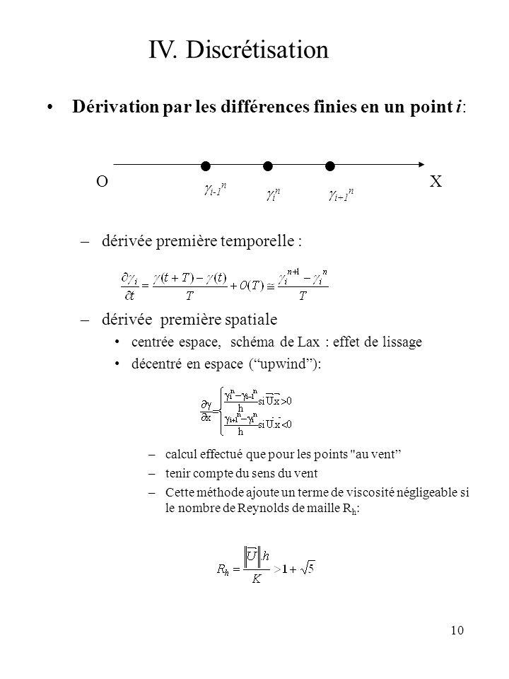 10 IV. Discrétisation Dérivation par les différences finies en un point i: –dérivée première temporelle : –dérivée première spatiale centrée espace, s