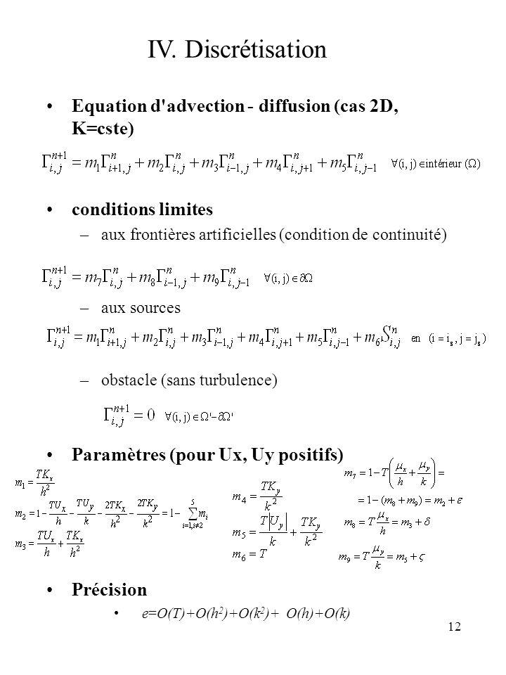 12 Equation d'advection - diffusion (cas 2D, K=cste) conditions limites –aux frontières artificielles (condition de continuité) –aux sources –obstacle