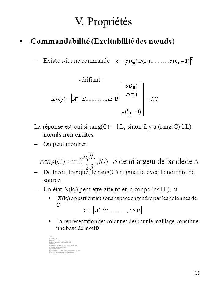 19 Commandabilité (Excitabilité des nœuds) –Existe t-il une commande vérifiant : La réponse est oui si rang(C) = l.L, sinon il y a (rang(C)-l.L) nœuds