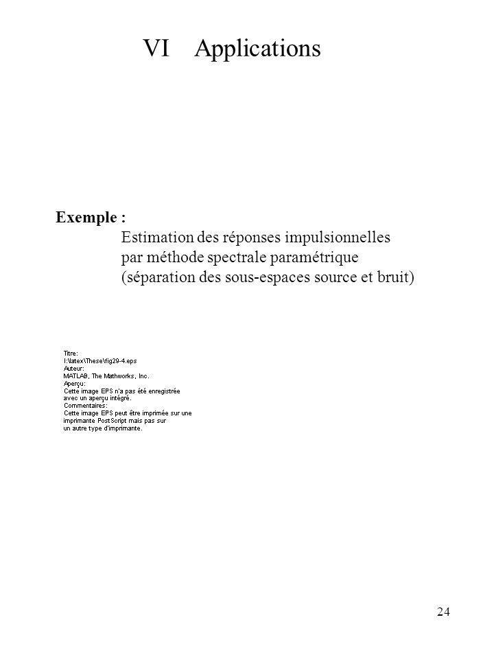 24 Exemple : Estimation des réponses impulsionnelles par méthode spectrale paramétrique (séparation des sous-espaces source et bruit) VI Applications