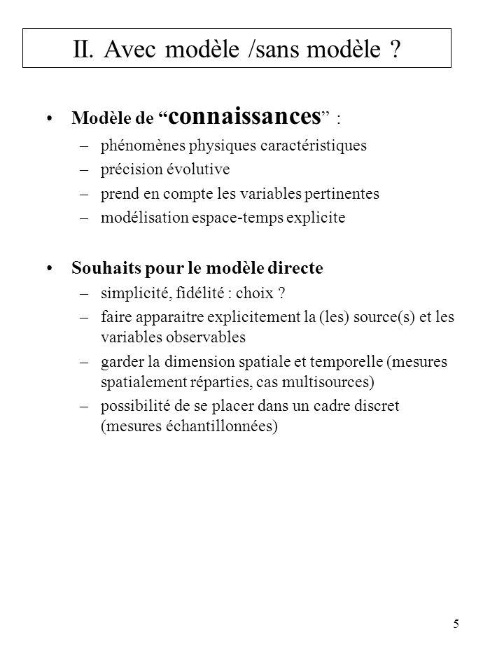 5 Modèle de connaissances : –phénomènes physiques caractéristiques –précision évolutive –prend en compte les variables pertinentes –modélisation espac