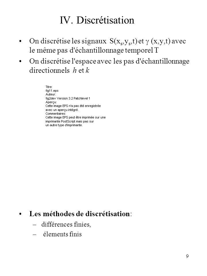 9 IV. Discrétisation On discrétise les signaux S(x s,y s,t) et (x,y,t) avec le même pas d'échantillonnage temporel T On discrétise l'espace avec les p