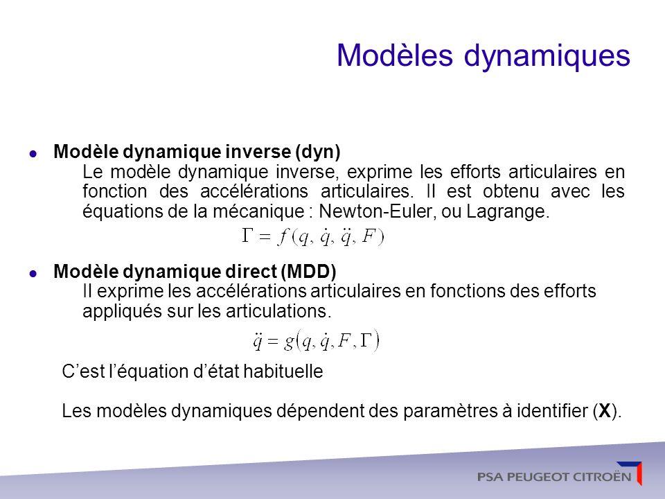 Méthodes didentification paramétrique Modèle dynamique didentification Linéaire par rapport aux paramètres à identifier (X) D est appelé régresseur et L a est le vecteur des efforts articulaires (efforts extérieurs, de pesanteur, de corriolis, de liaison…) Léchantillonnage du modèle dynamique minimal (identifiable) conduit au système surdéterminé de plein rang structurel suivant :