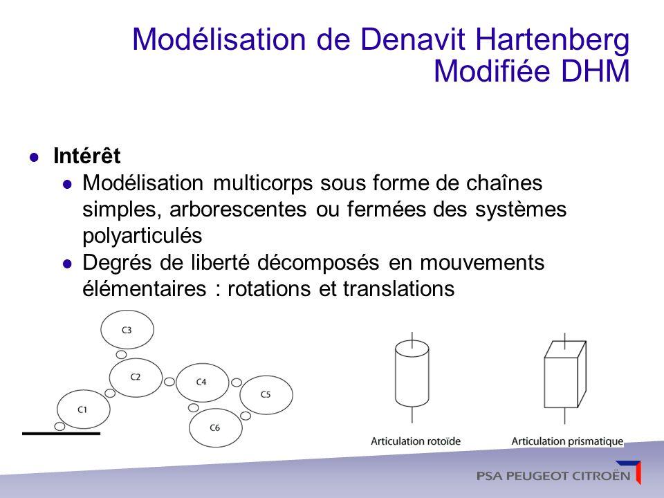Modélisation de Denavit Hartenberg Modifiée DHM Système composé de n+1 corps reliés entre eux par L articulations Corps réels Lorsquil correspond à un élément physique du système représenté : un bras, une roue, une pince… il a une masse, une inertie… Corps virtuels Lorsquil na ni masse, ni inertie propre.