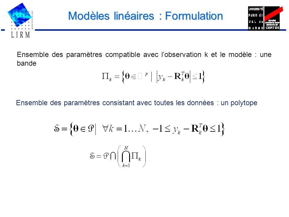 Modèles linéaires : Formulation Ensemble des paramètres consistant avec toutes les données : un polytope Ensemble des paramètres compatible avec lobse