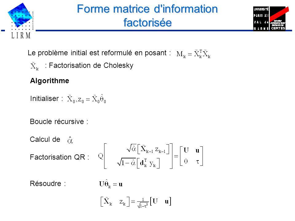 Forme matrice d'information factorisée Le problème initial est reformulé en posant : : Factorisation de Cholesky Algorithme Initialiser : Boucle récur