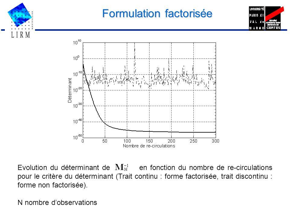 Formulation factorisée Evolution du déterminant de en fonction du nombre de re-circulations pour le critère du déterminant (Trait continu : forme fact