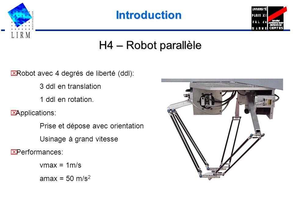 Introduction Robot avec 4 degrés de liberté (ddl): 3 ddl en translation 1 ddl en rotation. Applications: Prise et dépose avec orientation Usinage à gr