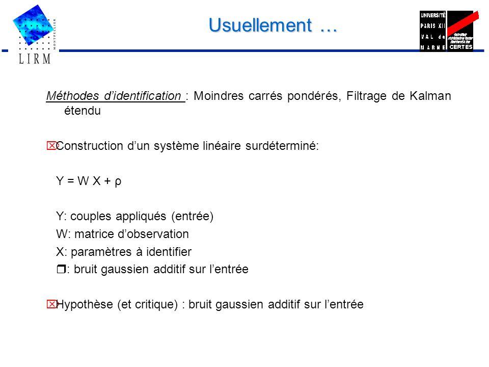 Usuellement … Méthodes didentification : Moindres carrés pondérés, Filtrage de Kalman étendu Construction dun système linéaire surdéterminé: Y = W X +
