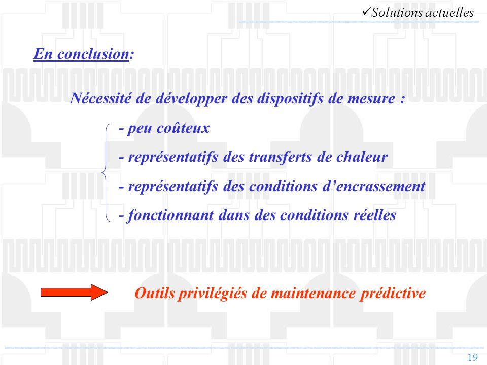 19 En conclusion: Nécessité de développer des dispositifs de mesure : - peu coûteux - représentatifs des transferts de chaleur - représentatifs des co