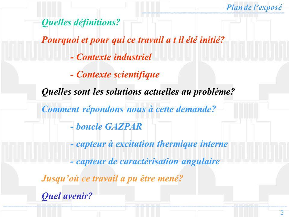 2 Plan de lexposé Quelles définitions? Pourquoi et pour qui ce travail a t il été initié? - Contexte industriel - Contexte scientifique Quelles sont l