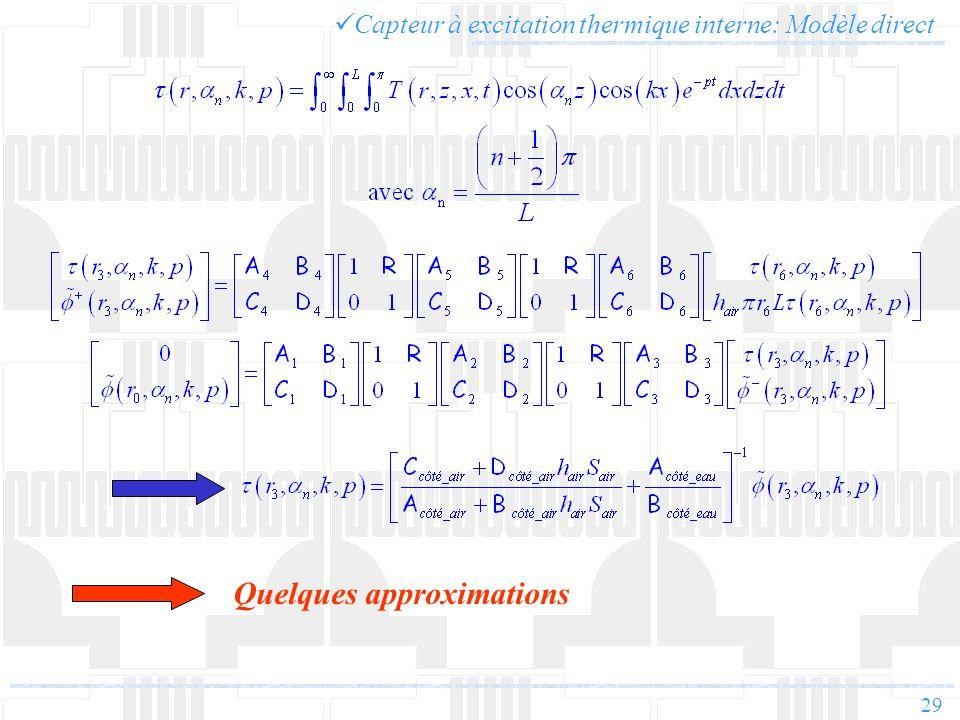 29 Capteur à excitation thermique interne: Modèle direct Quelques approximations