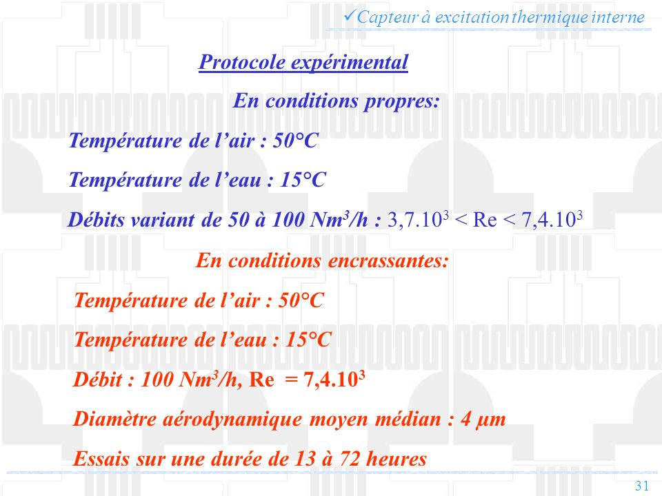31 Capteur à excitation thermique interne Protocole expérimental En conditions propres: Température de lair : 50°C Température de leau : 15°C Débits v