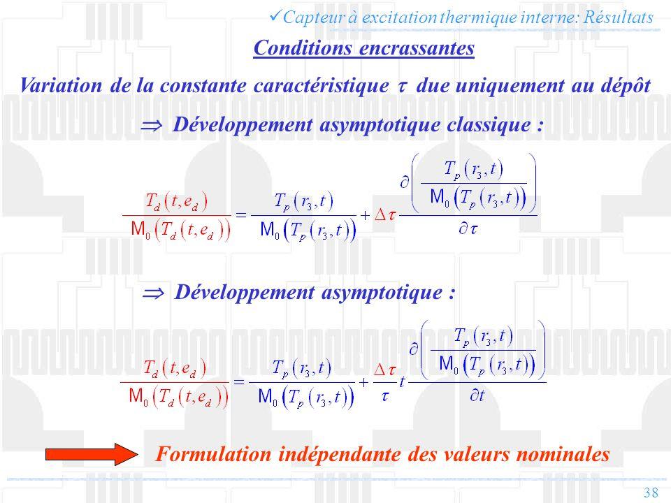 38 Capteur à excitation thermique interne: Résultats Variation de la constante caractéristique due uniquement au dépôt Développement asymptotique : Fo