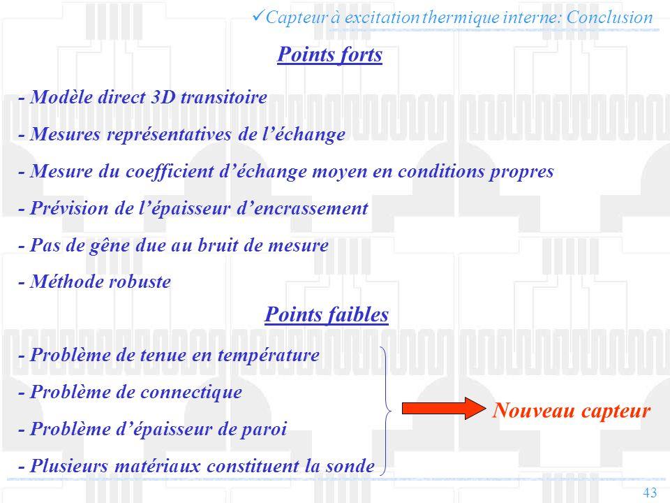 43 Capteur à excitation thermique interne: Conclusion Points forts Points faibles - Modèle direct 3D transitoire - Mesures représentatives de léchange