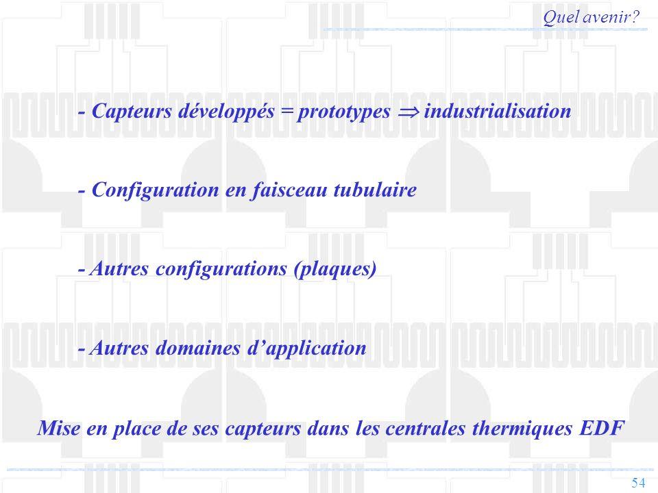 54 Quel avenir? - Capteurs développés = prototypes industrialisation - Configuration en faisceau tubulaire - Autres configurations (plaques) - Autres