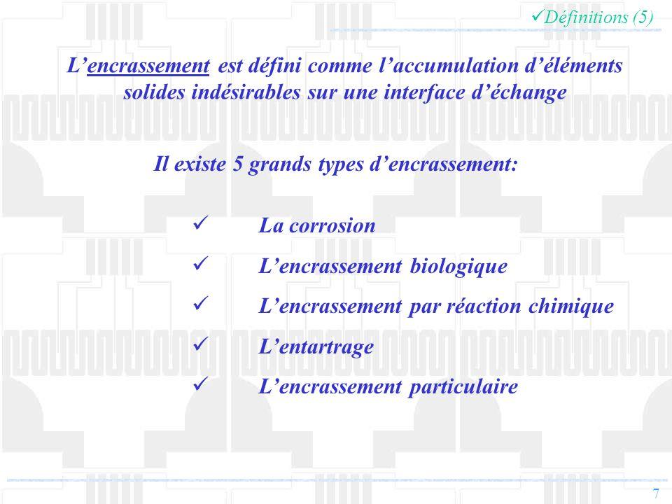 7 Définitions (5) Lencrassement est défini comme laccumulation déléments solides indésirables sur une interface déchange La corrosion Lencrassement bi