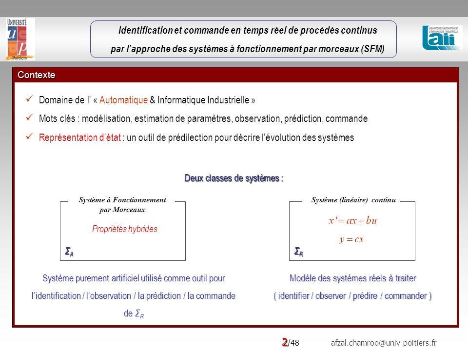 2 /48 afzal.chamroo@univ-poitiers.fr Contexte Domaine de l « Automatique & Informatique Industrielle » Mots clés : modélisation, estimation de paramètres, observation, prédiction, commande Représentation détat : un outil de prédilection pour décrire lévolution des systèmes Deux classes de systèmes : Modèle des systèmes réels à traiter ( identifier / observer / prédire / commander ) Système purement artificiel utilisé comme outil pour lidentification / lobservation / la prédiction / la commande de Σ R Système (linéaire) continu ΣRΣRΣRΣR Système à Fonctionnement par Morceaux ΣAΣAΣAΣA Propriétés hybrides Identification et commande en temps réel de procédés continus par lapproche des systèmes à fonctionnement par morceaux (SFM)