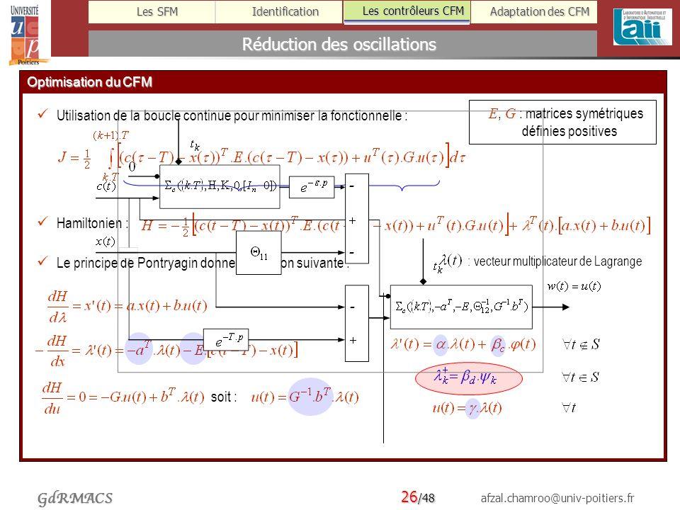 26 /48 afzal.chamroo@univ-poitiers.fr Les SFM Identification Les contrôleurs CFM Adaptation des CFM GdRMACS Réduction des oscillations Les contrôleurs CFM Optimisation du CFM Utilisation de la boucle continue pour minimiser la fonctionnelle : Hamiltonien : Le principe de Pontryagin donne la solution suivante : soit : E, G : matrices symétriques définies positives : vecteur multiplicateur de Lagrange